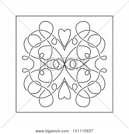 Abstract intricate pattern with hearts . Decorative element.