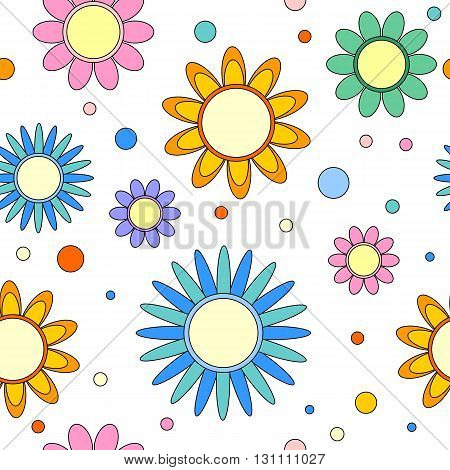 Colorful seamless tiling texture with flowers and dots
