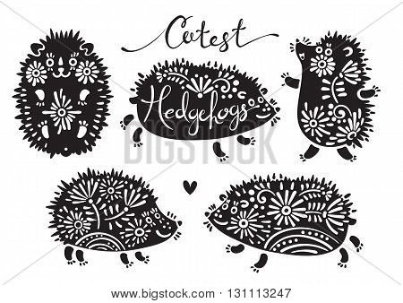 Set of cutest hedgehogs with flowers. Elements for design and t-shirt print. Vector illustration.