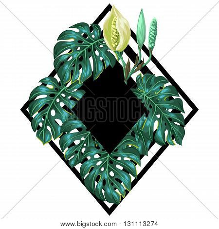 Background with monstera leaves. Decorative image of tropical foliage and flower. Design for advertising booklets, banners, flayers, cards.