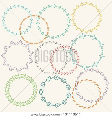 Set of vector decorative elements. Round frames with hand drawn strokes. Colorful ornamental wreaths. Illustrator pattern brushes included.