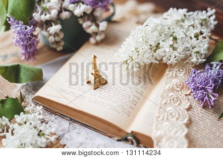 Still life with lilac flowers book lace bookmark and miniture Eiffel tower. Rustic vintage background. Interesting reading about France.