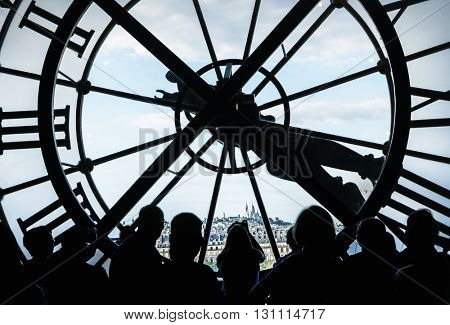PARIS, FRANCE - AUGUST 6, 2015: Clock window in Orsay Museum