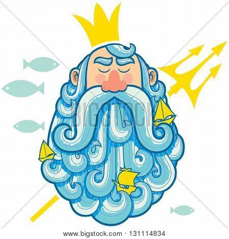 Concept cartoon illustration of sea god Neptune.