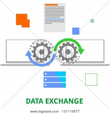 An illustration showing a data exchange concept