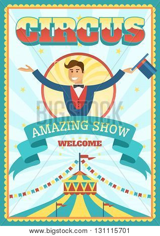 Retro circus poster with the lead circus dome and ribbon with inscription of amazing show vector illustration