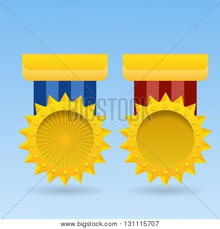Golden Blank Medal Award With Ribbon Achievement Icon Vector Illustration Eps 10