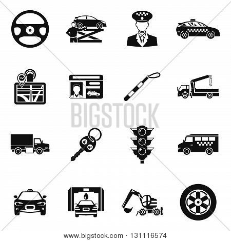Driver black white icons set with taxi hoist steering wheel traffic light trucks license isolated vector illustration