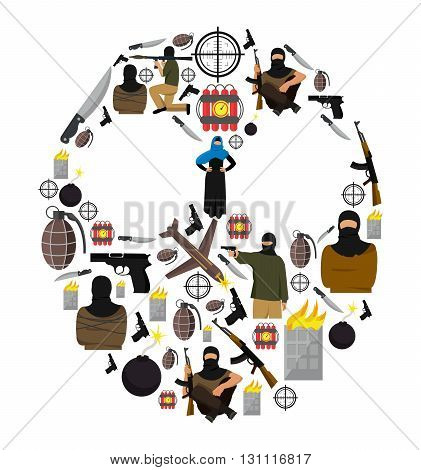 Terrorism flat composition with colored isolated icon set collected as a terrorists mask vector illustration