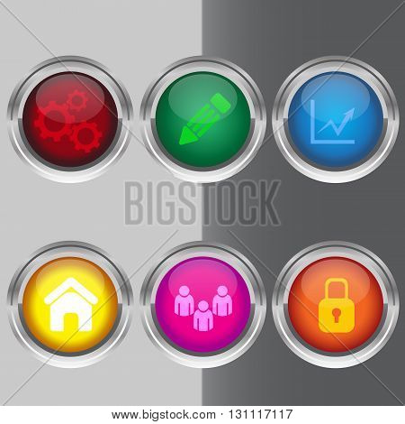 Set Of Colorful 3D Buttons Vector Illustration Eps 10