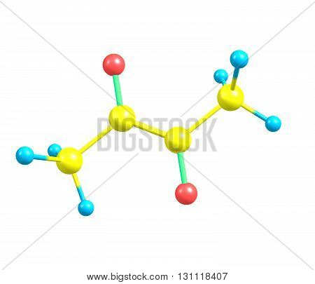 Diacetyl - butanedione - is an organic compound. It is a volatile yellow or green liquid with an intensely buttery flavor. 3d illustration