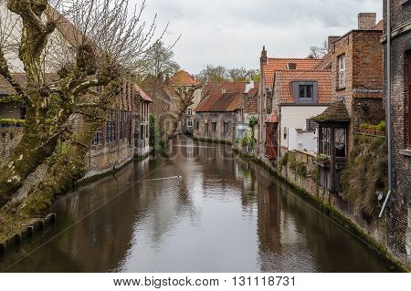 View of Bruges canal with historic houses Belgium