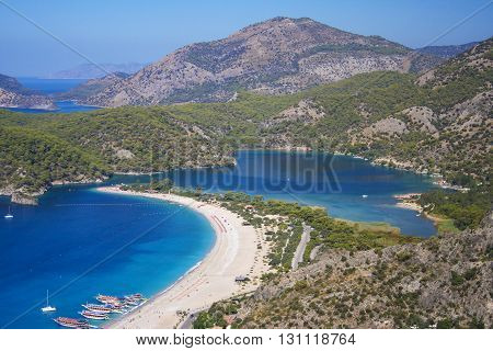 Areal view over Oludeniz bay and blue lagun in Turkey
