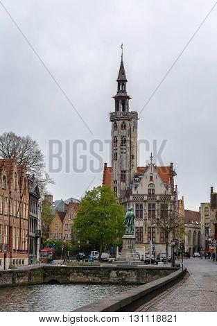 Poortersloge (Merchants Lodge) on Jan van Eyck square in Bruges Belgium