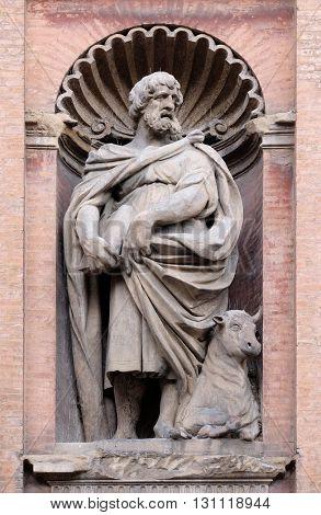 BOLOGNA, ITALY - JUNE 04: Saint Luke the Evangelist, Church of SS. Salvatore. Bologna. Emilia-Romagna. Italy, on June 04, 2015.