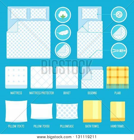 Vector set of bedding elements and towels with simple icons. Flat style.