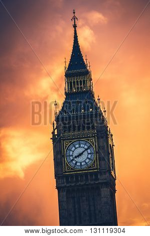 The famous Big Ben clock tower at sunset