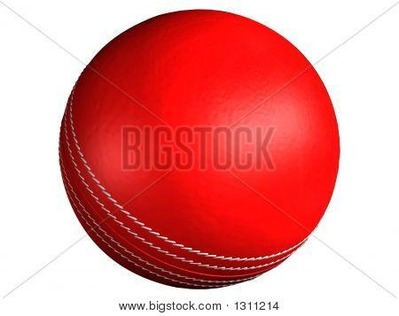 3D Rendered Red Leather Cricket Ball With Stitches