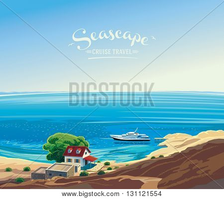 Seascape with the yacht and the hut on the shore. Silence on the sea, the marine leisure. The inscription on the location of the logo placement as poster and postcard advertising.