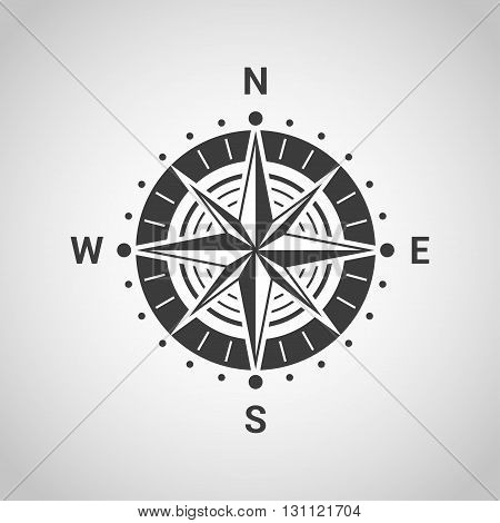 black and white sillhouette icon of wind rose isolated on gray background