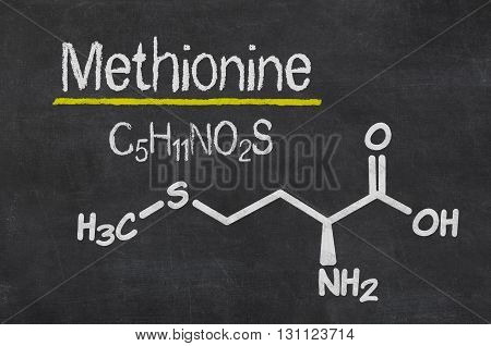 Blackboard With The Chemical Formula Of Methionine