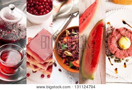 Collage of photos of natural food (in red colors)
