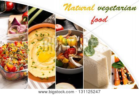Food collage of photos of natural vegetarian food from different cuisine