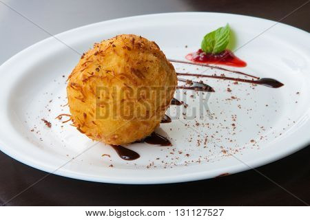 Traditional Portuguese Cod Cake with syrup teriaki