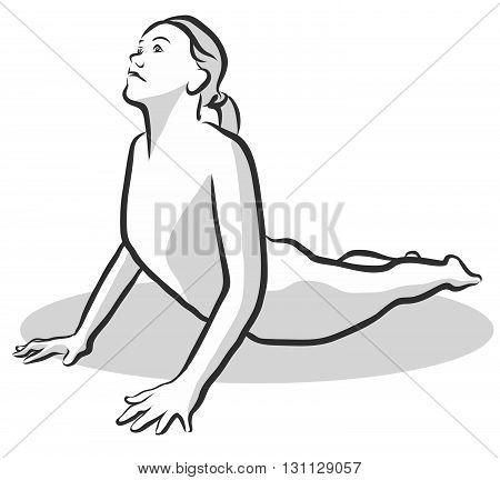 Cobra Bhujangasana Yoga Pose Free Hand drawn vector halftone Sketch poster