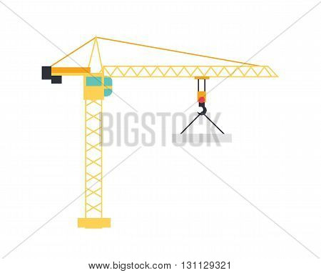 Lifting crane doing heavy lifting. Tower and harbor lifters. Flat style vector icon. Construction crane on white