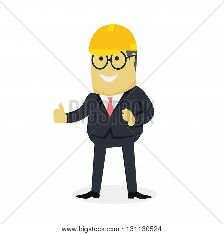 Businesman show gesture thumb up. Young successful investor man in glasses do business hand gesture shows good job isolated on white background. Approval of praise and agreement. Vector illustration