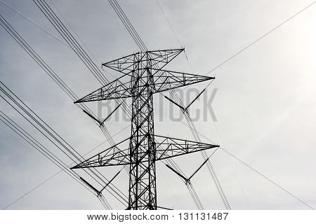 high voltage post.High-voltage tower with sky background