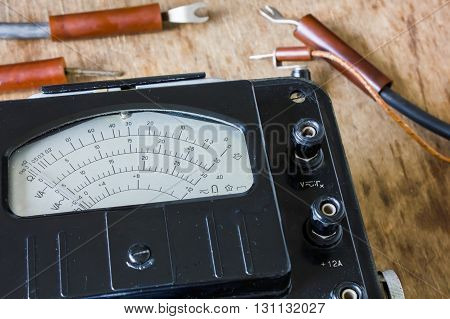 retro old electric meter for electrician .voltmeter, ammeter, ohmmeter, power meter