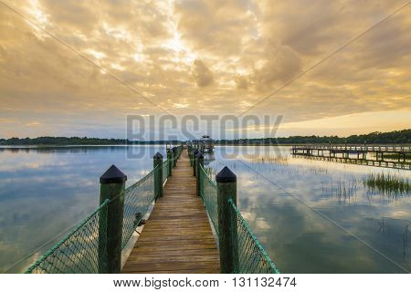 Dock at sunset in the South Carolina lowcountry