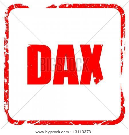 Dax, red rubber stamp with grunge edges