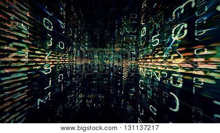Conceptual futuristic technology digital light abstraction. High resolution illustration 10888.