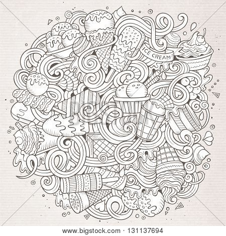 Cartoon hand-drawn doodles Ice Cream illustration. Line art detailed, with lots of objects vector design background