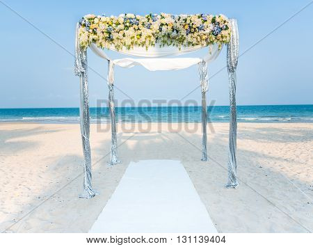 Wedding Ceremony On The Shore Of The Ocean Sea Arch On The Beach.