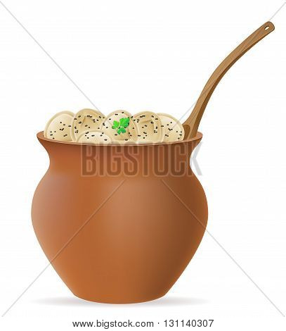 Dumplings Pelmeni Of Dough With A Filling And Greens In Clay Pot Vector Illustration