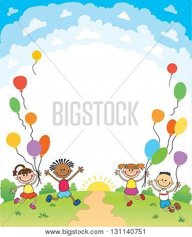 children are jumping up summer background bunner cartoon funny Ready for your message vector character. illustration