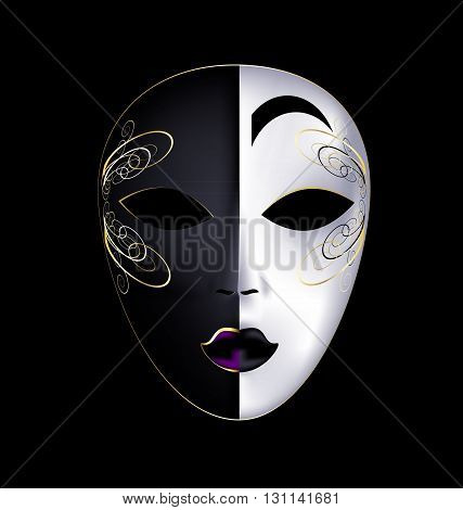 dark background and the large white-golden carnival mask