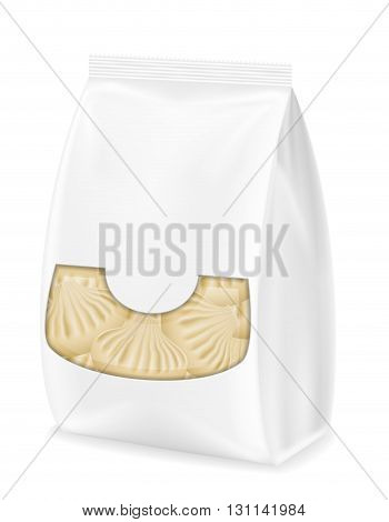 Dumplings Khinkali Of Dough With A Filling In Packaged Vector Illustration