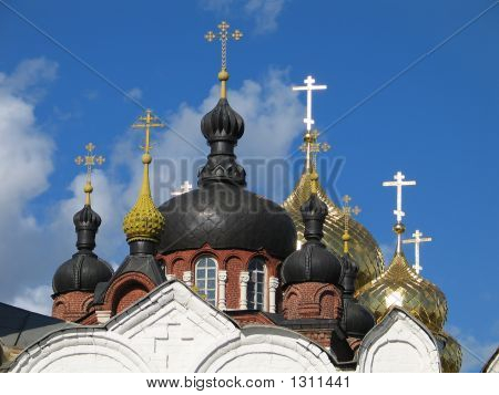 Gold And Black Domes And Crosses.