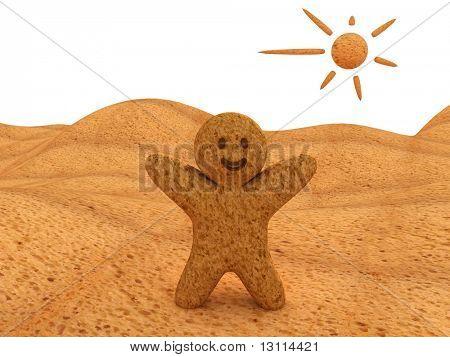 3 D illustration of a bredman in a bredland.