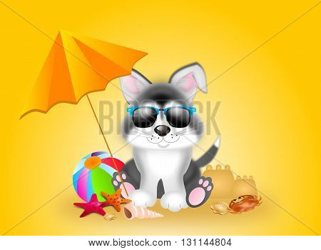 Cute illustration of siberian husky in summer time