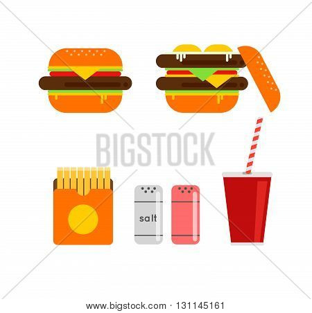 Fresh Burger Vector Illustration. Traditional American Burger With Vegetables, Ketchup And Fried Egg