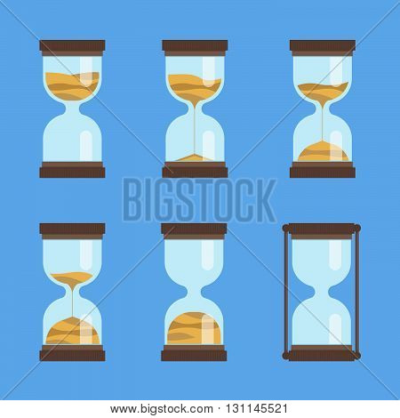 Sandglass vector icon set. Hourglass with sand. Time interval animation. Deadline vector sign.