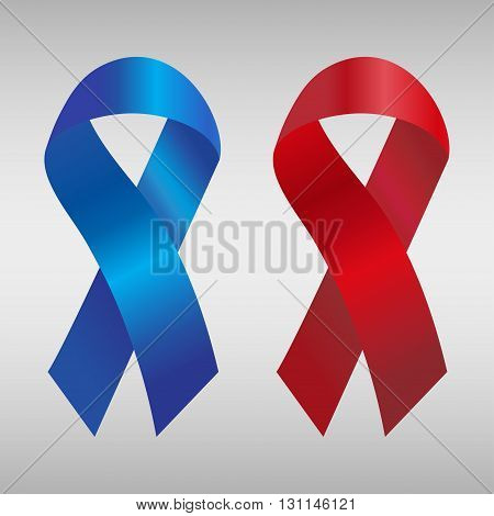 Cancer ribbon in the blue and red gradient. Vector illustration