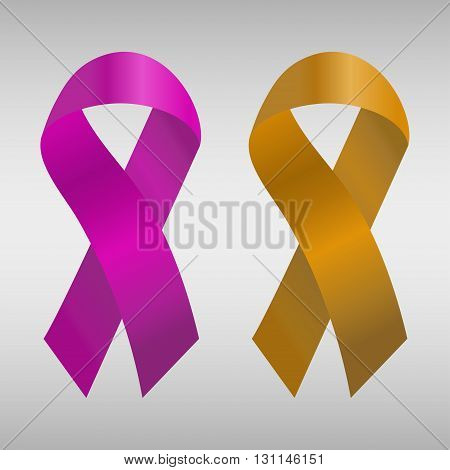 Cancer ribbon in the purple and orange gradient. Vector illustration