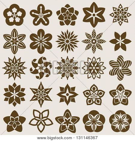 Abstract flower buds vector set isolated on beige background. Collection of flower shapes with ornamental petals.